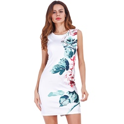 Summer Round Neck Print Sleeveless Bodycon Dresses
