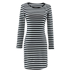 Shoespie Stripe V Neck Women's Bodycon Dress