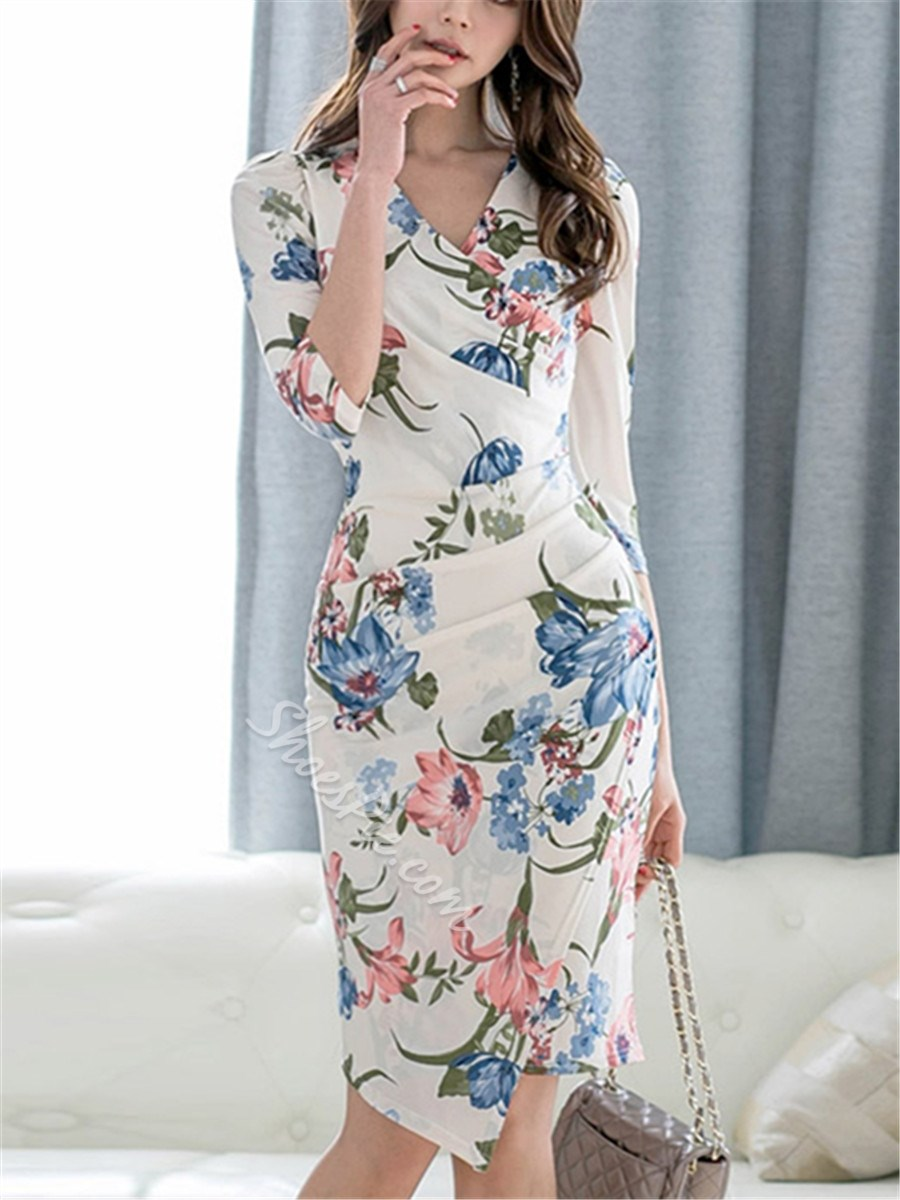 Shoespie Floral V Neck Pleated Women's Bodycon Dress