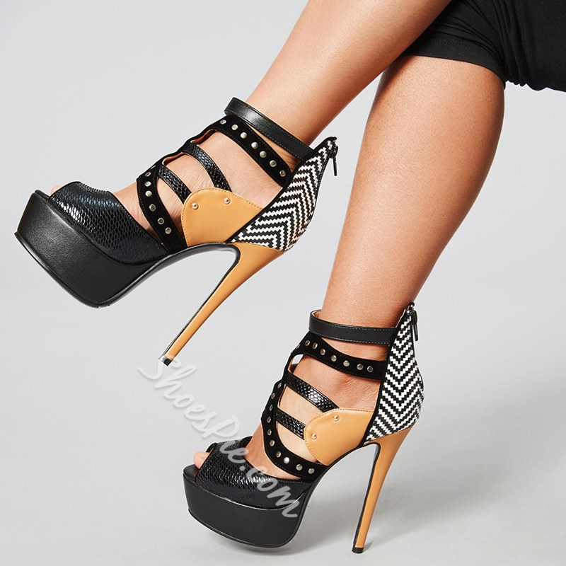 Rivet Platform Peep Toe Stiletto Heels