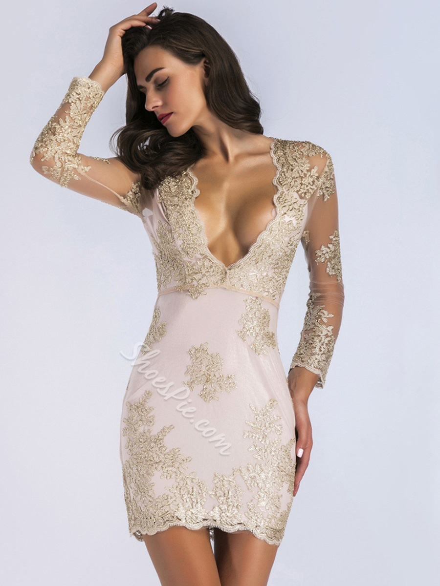 See-Through Embroidery V-Neck Bodycon Dresses Lace