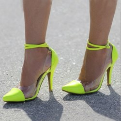 Yellow Patchwork Jelly Stiletto Heels