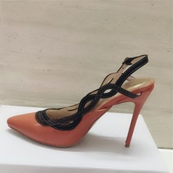 Shoespie Orange Pointed Toe Slingback Stiletto Heels