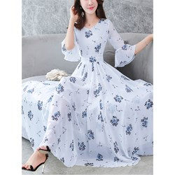 Shoespie Print Floral V Neck Women's Maxi Dress