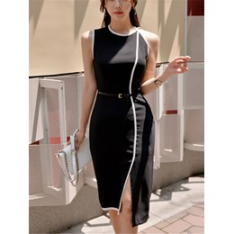 Shoespie Patchwork Round Neck Women's Bodycon Dress