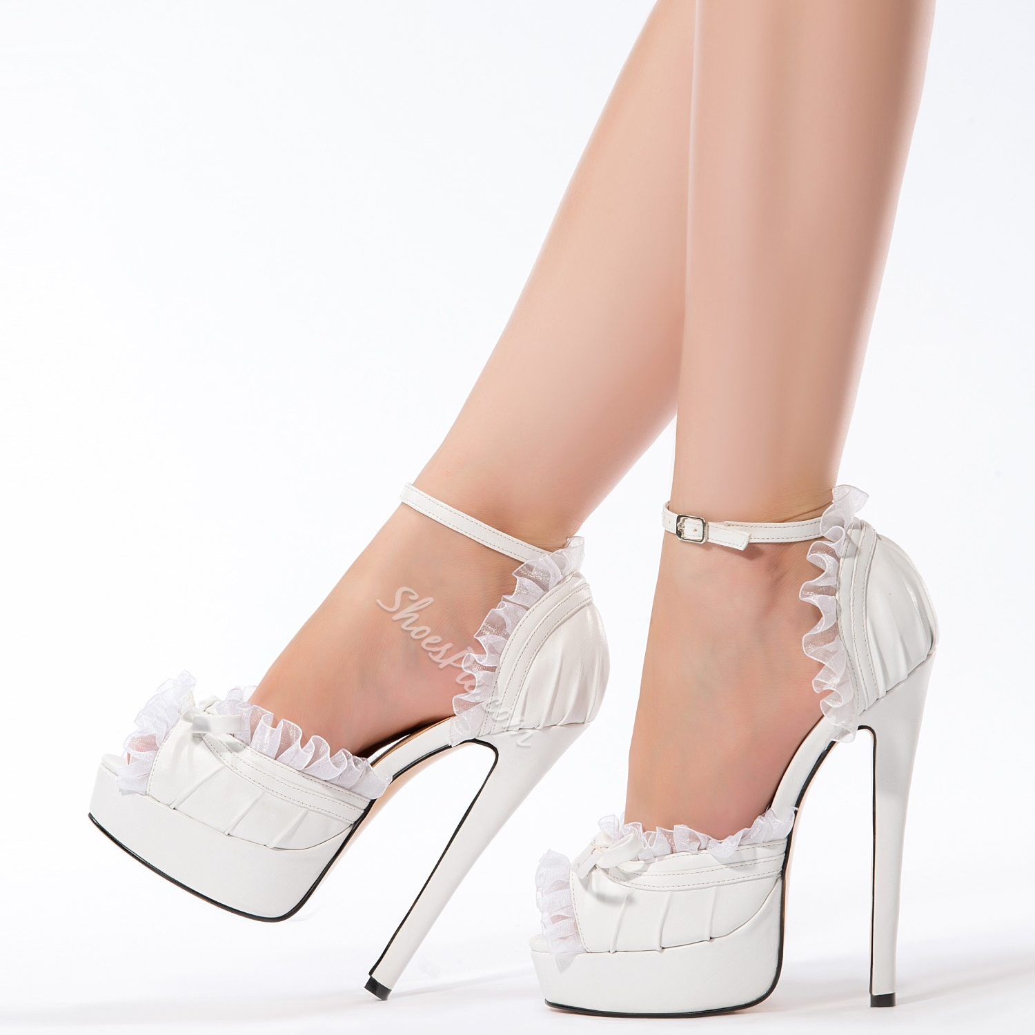 Elegant White PU Peep Toe Ankle Strap High Heel Shoes