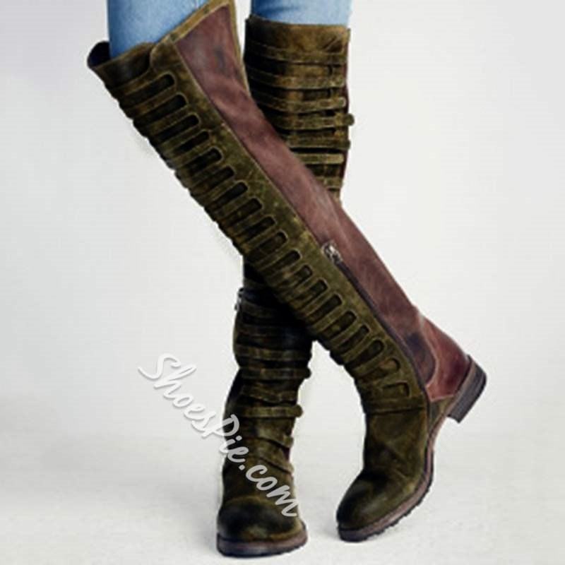 Shoespie Retro Block Heel Side Zipper Knee High Boots