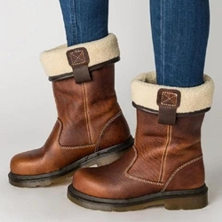 Shoespie Brown Stylish Slip-On Motorcycle Ankle Boots