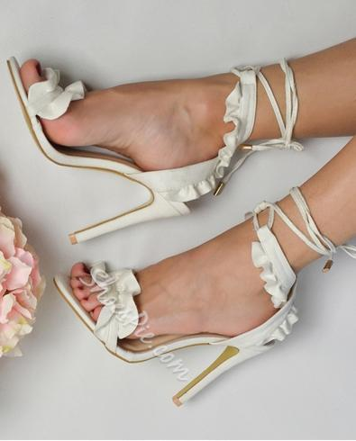White Falbala Ankle Strap Lace-Up Stiletto Heels
