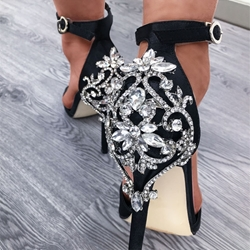 Black Rhinestone Stiletto Heel Sandals