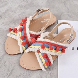 Shoespie Vintage Open Toe Buckle Flat With Ethnic Sandals