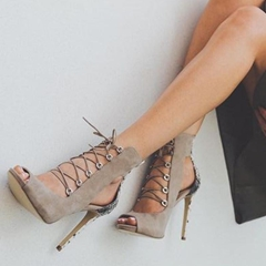 Shoespie Suede Trendy Lace-Up Open Toe Dress Sandals