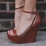 Shoespie Stylish Brown Buckle Heel Covering Open Toe Wedge Sandals