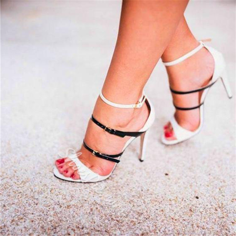 Shoespie Stylish White Buckle Open Toe Dress Sandals