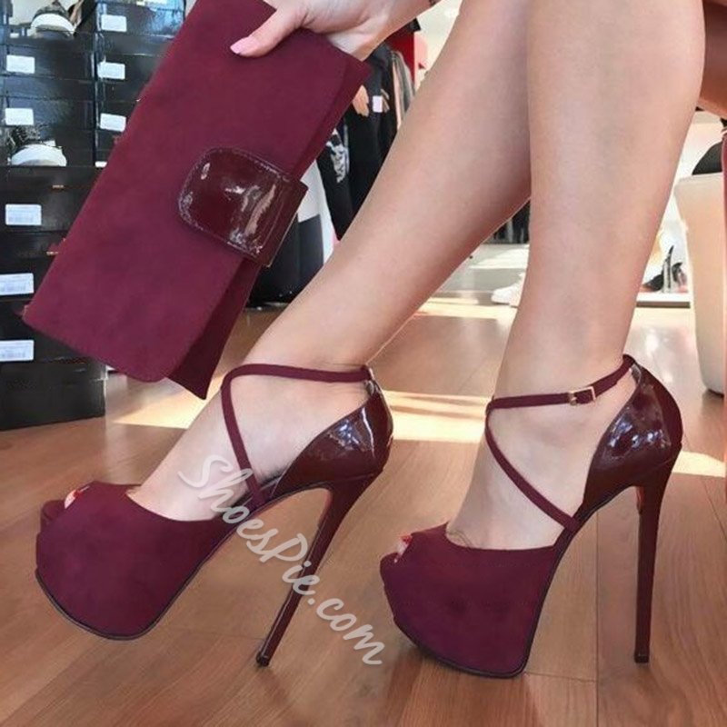 Shoespie Stylish Burgundy Buckle Peep Toe Stiletto Heels