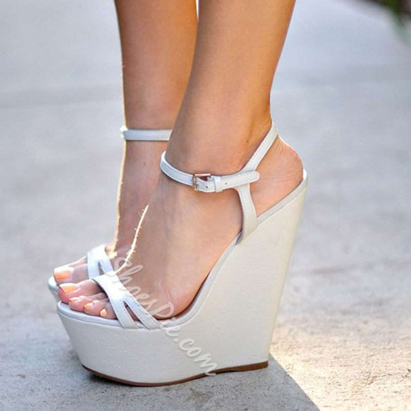 Shoespie Trendy White Buckle Wedge Heel Ankle Strap Platform Sandals