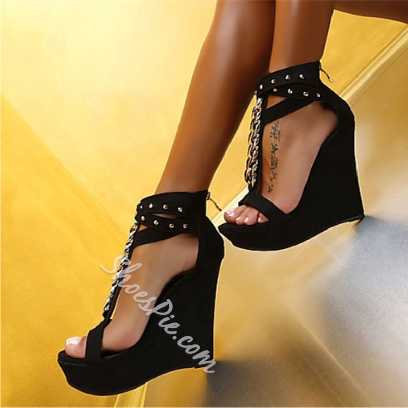 Shoespie Strap Metal Chain Wedge Sandals