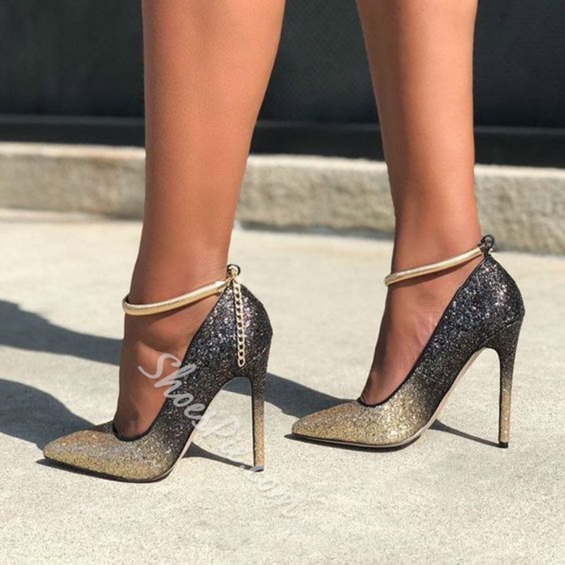 Shoespie Stylish Golden Sequin Buckle Stiletto Heels