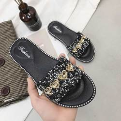 Shoespie Rhinestone Beaded Flat Slippers