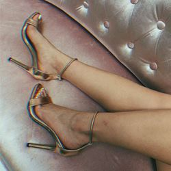 Shoespie Open Toe Stiletto Heel Gold Sandals