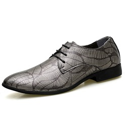 Shoespie Print Lace-Up Leather Men's Dress Shoes