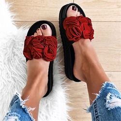 Shoespie Stylish Floral Slip-On Platform Flip Flop Slippers