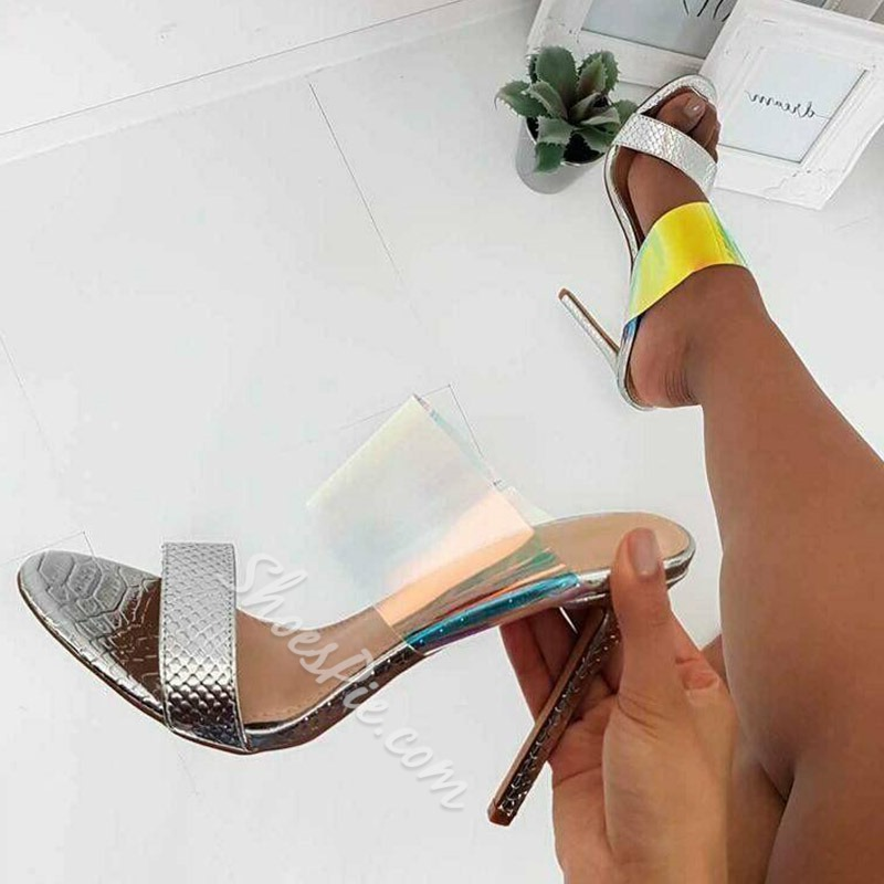 Shoespie Jelly Stiletto Heel Backless Color Block Mules