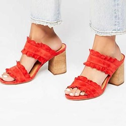 Shoespie Slip-On Block Heel Backless Mules