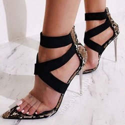 Shoespie Clear High Heel Covering Zipper Sandals