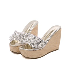 Shoespie Wedge Heel Beads Open Toe Slippers