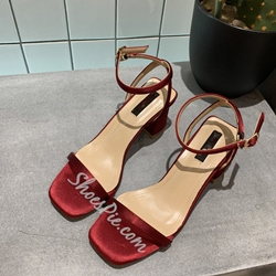 Shoespie Buckle Slingback Chunky Heel Sandals
