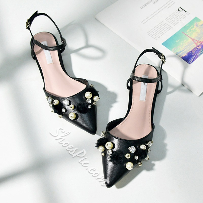 Shoespie Pointed Toe Buckle Slingback Sandals
