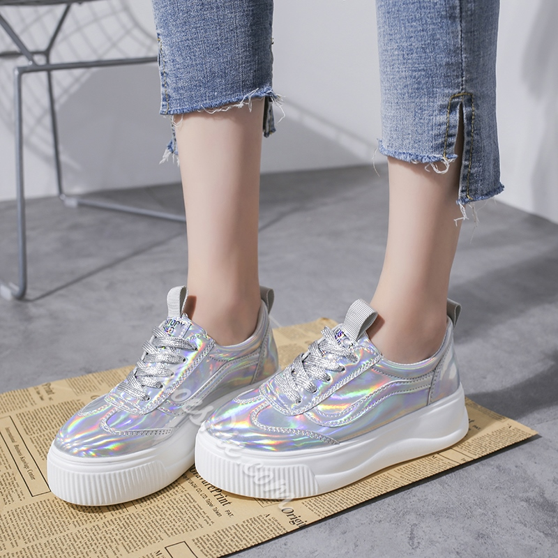 Shoespie Casual Lace-Up Glitter Sneakers