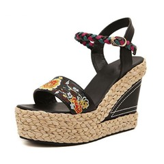 Shoespie Embroidery Ankle Strap Wedge Heel Sandals
