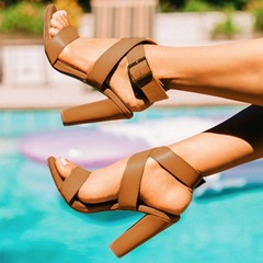 Shoespie Buckle Open Toe Ankle Strap Chunky Heel Sandals