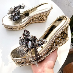 Shoespie Clear Wedge Heel Rhinestone Casual Sandals