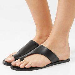 Shoespie Black Flat Toe Ring Summer Slippers