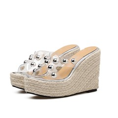 Shoespie Clear Cross Slip-On Platform Casual Slippers