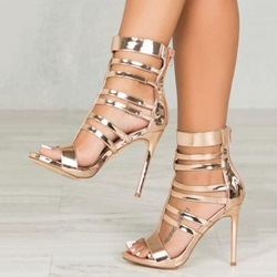 Shoespie Gold Stiletto Heel Zipper Sandals