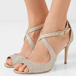 Shoespie Stiletto Heel Glitter Buckle Prom Pumps