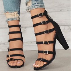 Shoespie Zipper Blck Chunky Heel Hollow Sandals