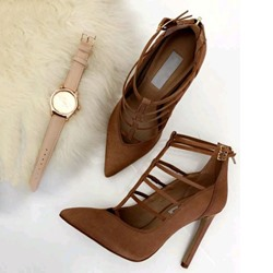 Shoespie Coffee Stiletto Heel Pointed Toe Buckle Pumps