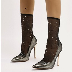 Shoespie Black Mesh Stiletto Heel Rhinestone Pumps