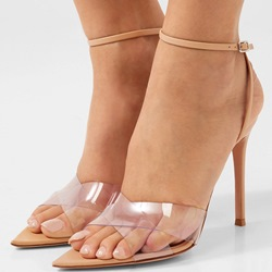 Shoespie Solid Buckle Strap Stiletto Heel Clear Sandals