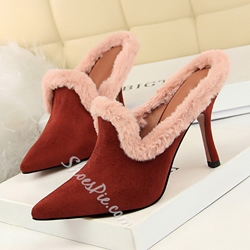 Shoespie Fluffy Closed Toe Stiletto Heel Mules