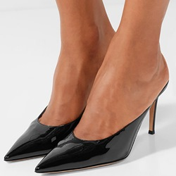 Shoespie Black Stiletto Heel Backless Mules