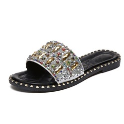 Shoespie Rhinestone Flat Black Summer Sandals