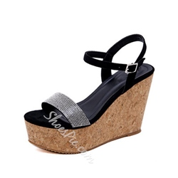 Shoespie Wedge Heel Buckle Beaded Casual Sandals