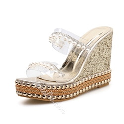 Shoespie Clear Beads Wedge Heel Sandals