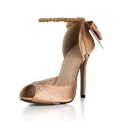 shoespie Elastic Peep Toe Stiletto Heel Bow Prom Pumps